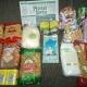 Новогодние подарки, продукты - гречка, рис, манка, сгущеное молоко, макароны
