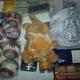 Новогодние подарки, Новогодние шарики, сайра, горошек, печенье, колготы, игрушки