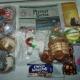 Новогодние подарки, Новогодние шары, горошек зеленый, сайра, сладости