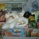 Новогодние подарки, ананасы, шпроты, сладости, игрушки