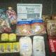 Новогодние подарки, продукты - сгущеное молоко, сахар, манка, рис, гречка, макароны, мыло