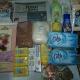 Новогодний подарок, средства личной гигиены, продукты, коробка конфет