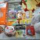 Новогодние подарки, памперсы, салфетки, шампунь, детская присыпка, масло детское, мыло, чай, ананасы, икра трески, пряники