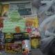 Новогодние подарки, кукуруза, чай, ананасы, паштет, сгущеное молоко, чокобой, сахар, кексы, литература детская, игрушки, погремушки, вещи на малышку