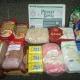 Новогодние подарки, продукты - гречка, рис, манка, макароны, сгущеное молоко, мыло