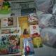 Новогодние подарки, вафли,  печенье, печень трески, паштет, какао, сгцщеное молоко, литература детская, игрушки